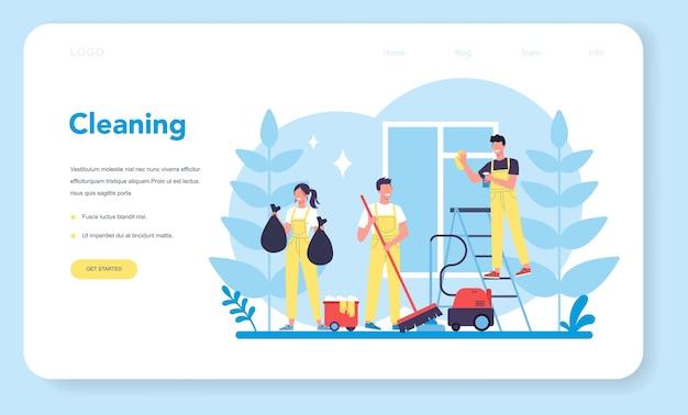Servizio di pulizia o landing page web aziendale. donna e uomo che fanno i lavori domestici. occupazione professionale. bidello che lava pavimenti e mobili. illustrazione vettoriale isolato