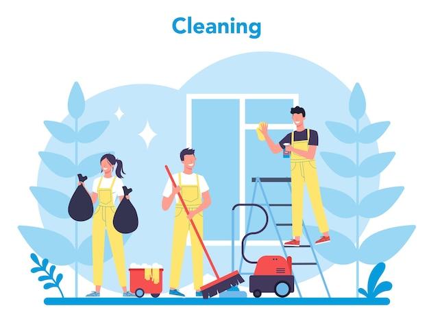 Servizio di pulizia o azienda. donna e uomo che fanno i lavori domestici. occupazione professionale. bidello che lava pavimenti e mobili.