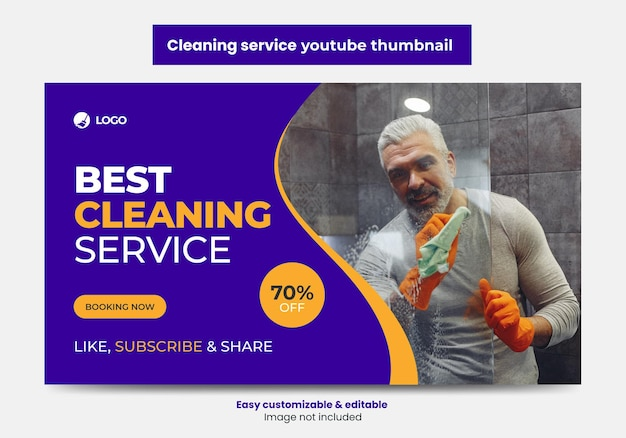 Azienda di servizi di pulizia youtube thumbnail design e banner web
