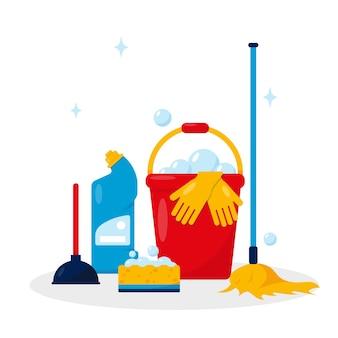 Concetto di servizio di pulizia. prodotti e strumenti per la pulizia.