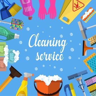 Illustrazione piana del servizio di pulizia