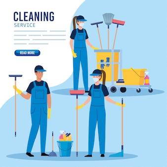 Servizio di pulizia, gruppo di lavoratori di servizio di pulizia con progettazione dell'illustrazione delle attrezzature