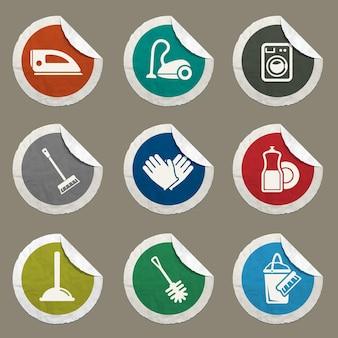 Set di icone del servizio di pulizia per siti web e interfaccia utente