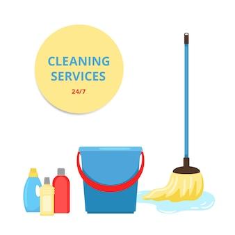 Illustrazione del servizio di pulizia. mop, secchio e prodotti per la pulizia.