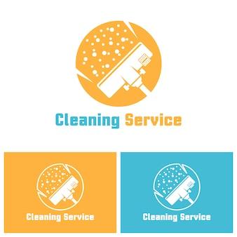 Concetto di logo isolato servizio di pulizia con testo di esempio