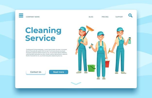 Pagina di destinazione del servizio di pulizia. servizio di pulizia professionale, persone con attrezzature speciali per l'igiene, illustrazione vettoriale di un'azienda più pulita