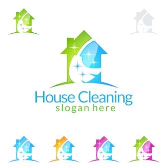 Servizio di pulizia logo design con house and broom