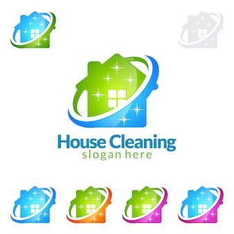 Servizio di pulizia logo design con house and circle
