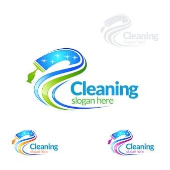 Servizio di pulizia logo design