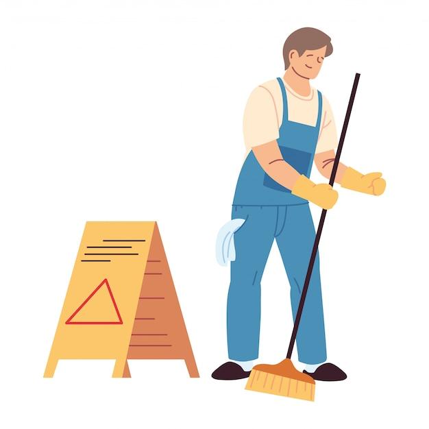 Uomo di servizio di pulizia con guanti e utensili per la pulizia