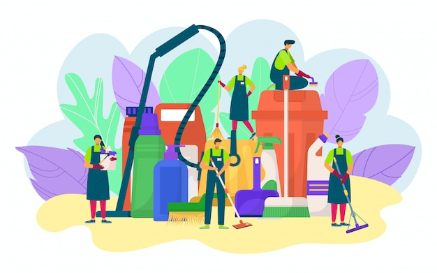 La gente di servizio di pulizia con il concetto di detersivo, illustrazione. secchio, mop, spugna per lavaggio, lavori domestici. personale professionale della compagnia di pulizie, igiene domestica