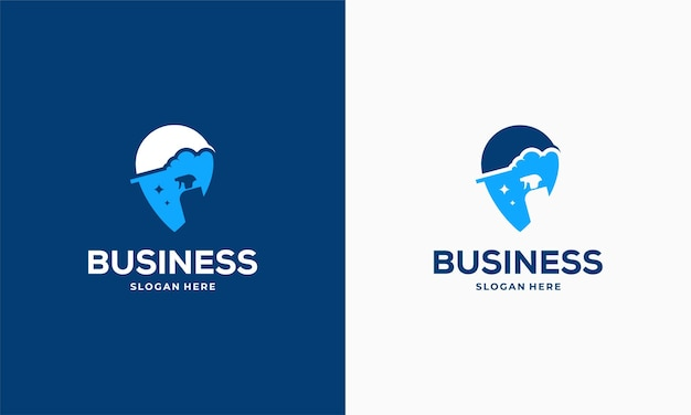 Il logo del punto di servizio di pulizia progetta il vettore del concetto, l'icona del simbolo del logo del puntatore e dello strumento di pulizia
