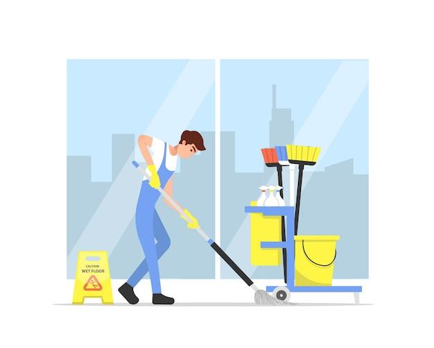 Illustrazione di professione di servizio di pulizia