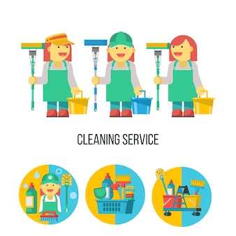 Servizio di pulizia. tre cameriere professionali con un mop. set di prodotti per la pulizia in un cestino di plastica.