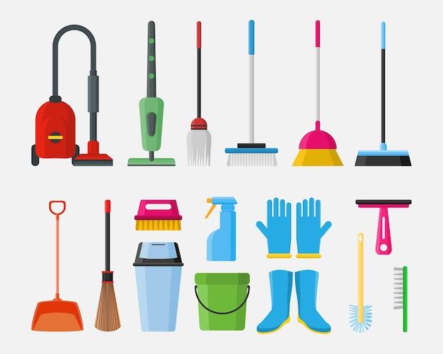 Illustrazione dell'elemento dell'oggetto dell'attrezzatura degli strumenti di servizio di pulizia