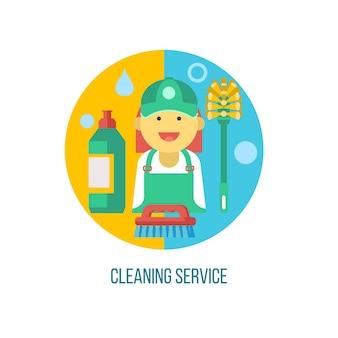 Servizio di pulizia. illustrazione vettoriale, emblema.