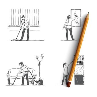 Servizio di pulizia lavaggio pavimento, specchi, mensole e illustrazione di aspirazione
