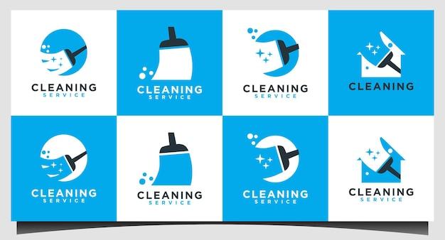 Servizio di pulizia con vettore di progettazione del logo della scopa