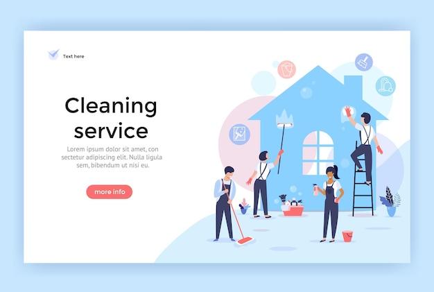 Servizio di pulizia con professionisti al lavoro concetto illustrazione