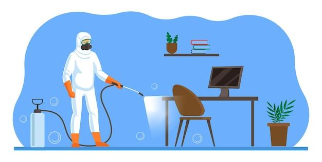 Il lavoratore del servizio di pulizia nel respiratore disinfetta la superficie