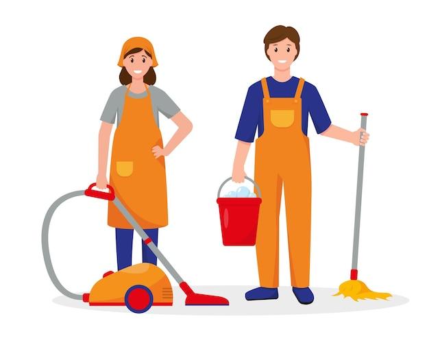 Progettazione dell'illustrazione dei lavoratori del servizio di pulizia su fondo bianco