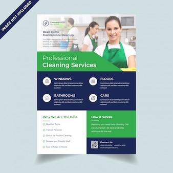 Modello di volantino a4 di servizi di pulizia