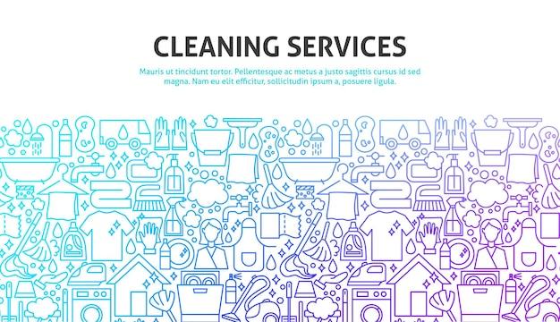 Concetto di servizi di pulizia. illustrazione vettoriale di linea website design. modello di bandiera.