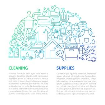 Modello di linea di servizi di pulizia. illustrazione di vettore del disegno del profilo.