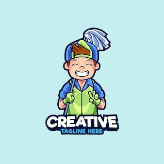 Illustrazione del design del logo della mascotte dei servizi di pulizia