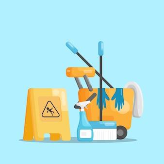 Servizi di pulizia illustrazione vettoriale design piatto