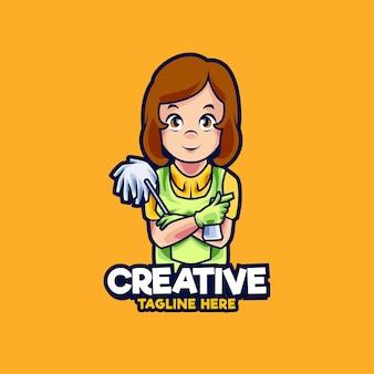 Illustrazione di progettazione del logo della mascotte della donna dei servizi di pulizia