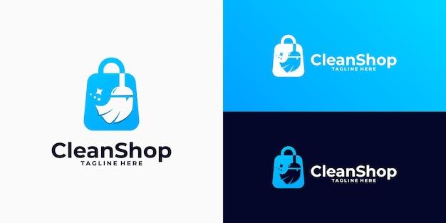 Combinazione di design del logo del negozio di pulizia