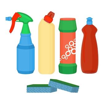 Spray detergente, detersivo liquido chimico, detersivo in polvere, bottiglia di candeggina con spugna