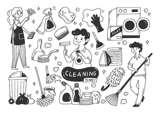 Forniture per la pulizia doodle isolato