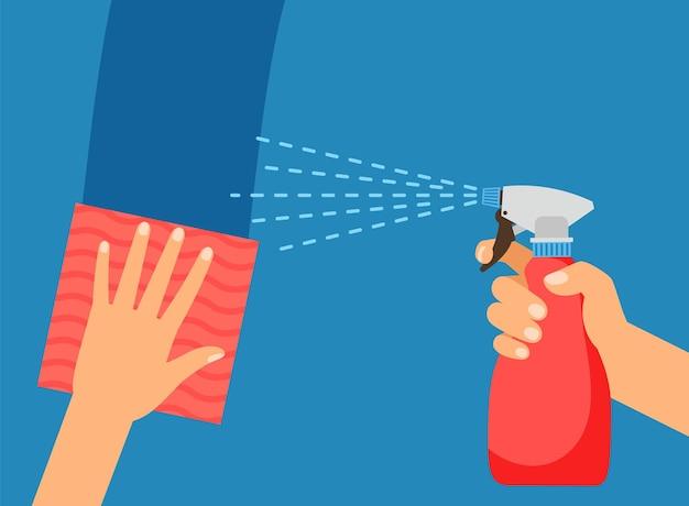 Superficie di pulizia. lavaggio, salvietta per tenere le mani e flacone spray. illustrazione vettoriale del servizio di protezione