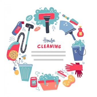 Banner di strumenti di pulizia per i servizi di casa.