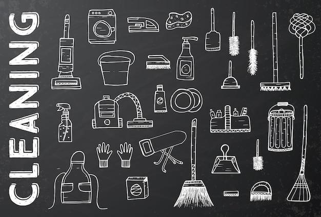 Strumenti di pulizia. illustrazione di vettore. servizio di pulizia. rifornimenti di pulizia sulla lavagna nera. prodotti per la pulizia disegnati a mano.