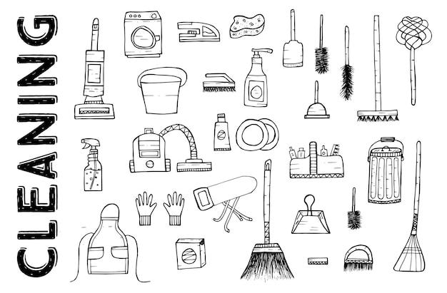 Strumenti di pulizia. illustrazione di vettore. servizio di pulizia. prodotti per la pulizia isolati su sfondo bianco. prodotti per la pulizia disegnati a mano. Vettore Premium