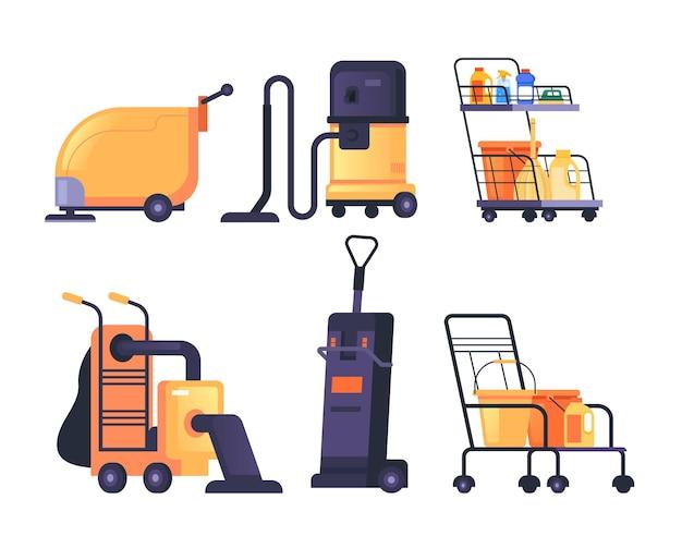 Pulizia macchina lavatrice attrezzature isolato set design piatto illustrazione