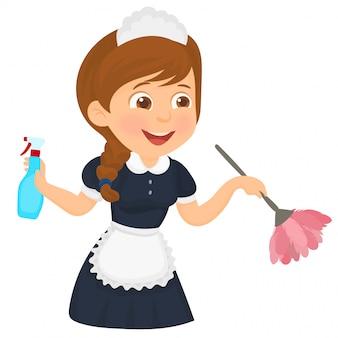 Donna delle pulizie in classico abito da cameriera