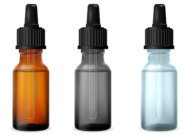 Flacone contagocce trasparente bottiglie di vetro a goccia di olio essenziale cosmetico mockup di pallone in vetro di siero con pipetta. fiala di collagene medicinale