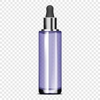 Bottiglia di vetro trasparente con tappo contagocce su sfondo trasparente mockup vettoriale realistico