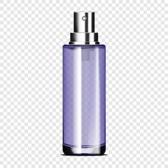 Flacone spray in vetro trasparente su sfondo trasparente modello vettoriale confezione di prodotti cosmetici