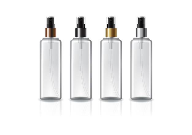 Flacone cosmetico quadrato trasparente con testina spray colorata per prodotti di bellezza o sani. isolato su sfondo bianco con ombra di riflessione. pronto per l'uso per il design della confezione. illustrazione.