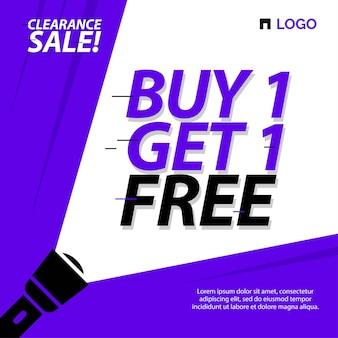 Modello di banner di vendita di liquidazione acquista 1 prendi 1 offerta a tempo limitato gratuita