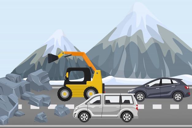 Svuotare le macerie sulla strada principale, attrezzatura per l'edilizia rimuove la roccia dalla strada, illustrazione. coppia auto traffico invernale alpino.