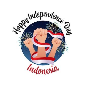 Pugno chiuso che tiene il nastro della bandiera indonesiana celebrazione del giorno dell'indipendenza dell'indonesia