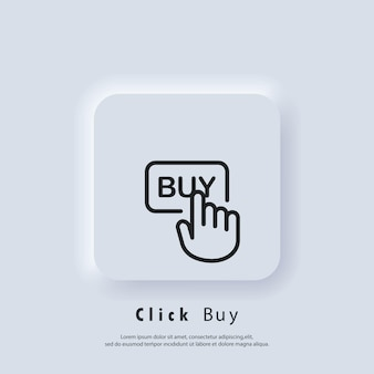 Fare clic su acquista logo. fare clic sull'icona del pulsante acquista. acquista con un clic del mouse. vettore. icona dell'interfaccia utente. pulsante web dell'interfaccia utente di neumorphic ui ux bianco. neumorfismo
