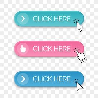 Fare clic qui raccolta di icone del pulsante con un diverso cursore della mano che fa clic