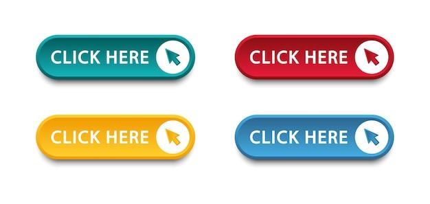 Fare clic qui pulsante con l'icona di clic del puntatore a freccia